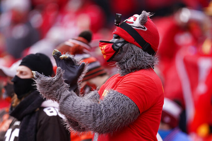 A fan watches from the stands during the first half of an NFL divisional round football game between the Kansas City Chiefs and the Cleveland Browns, Sunday, Jan. 17, 2021, in Kansas City. (AP Photo/Charlie Riedel)