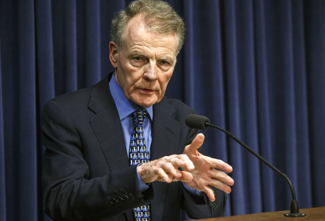 FILE - In this July 26, 2017, file photo, Illinois House Speaker Michael Madigan, D-Chicago, speaks at a news conference at the Capitol in Springfield, Ill. Illinois House Republicans have moved to form a special investigative committee on Speaker Madigan, who has been implicated in a federal bribery investigation. Republicans petitioned to form the committee this week, saying Wednesday, Sept. 2, 2020, that the House must