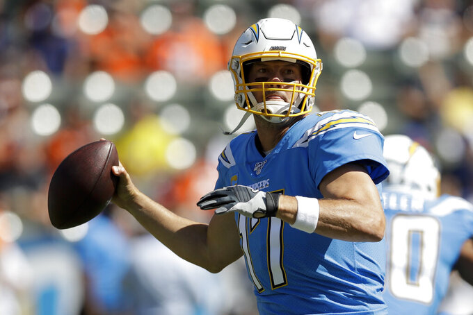Los Angeles Chargers quarterback Philip Rivers passes against the Denver Broncos during the first half of an NFL football game Sunday, Oct. 6, 2019, in Carson, Calif. (AP Photo/Marcio Jose Sanchez)