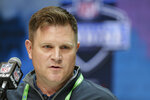FILE - In this Feb. 25, 2020, file photo, Green Bay Packers general manager Brian Gutekunst speaks during a press conference at the NFL football scouting combine in Indianapolis. The Packers would love to give quarterback Aaron Rodgers more weapons as they attempt to make at least one more Super Bowl run with the 36-year-old, two-time MVP. That doesn't necessarily mean you should pencil in a receiver to Green Bay with the 30th overall pick in the NFL Draft. (AP Photo/Michael Conroy, File)
