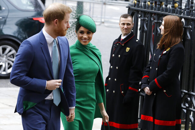 Britain's Harry and Meghan the Duke and Duchess of Sussex arrive to attend the annual Commonwealth Day service at Westminster Abbey in London, Monday, March 9, 2020. The annual service, organised by the Royal Commonwealth Society, is the largest annual inter-faith gathering in the United Kingdom. (AP Photo/Kirsty Wigglesworth)