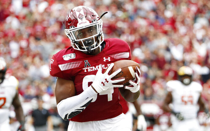 Temple tight end Kenny Yeboah (84) catches a touchdown pass during the second half of an NCAA college football against Maryland, Saturday, Sept. 14, 2019, in Philadelphia. Temple won 20-17. (AP Photo/Chris Szagola)