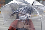 A woman struggles with her umbrella against powerful gusts of wind generated by Typhoon Chanthu in Taipei, Taiwan, Sunday, Sept. 12, 2021. Typhoon Chanthu drenched Taiwan with heavy rain Sunday as the storm's center passed the island's east coast heading for Shanghai. (AP Photo/Chiang Ying-ying)
