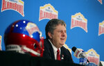 Washington State head coach Mike Leach answers a question during a news conference, Thursday, Dec. 27, 2018, in San Antonio. Washington State will face Iowa State in Friday's NCAA college football Alamo Bowl. (AP Photo/Eric Gay)