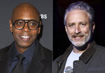 """Comedian Dave Chappelle arrives at Kennedy Center for the Performing Arts to receive the 22nd Annual Mark Twain Prize for American Humor in Washington on Oct. 27, 2019, left, and comedian Jon Stewart performs at the 9th Annual Stand Up For Heroes event in New York on Nov. 10, 2015. Chappelle, Stewart, Jimmy Fallon and Amy Schumer are in a star-studded group of comedians to perform for one night only at Madison Square Garden to mark the 20th anniversary of 9/11. All proceeds from """"NYC Still Rising After 20 Years: A Comedy Celebration"""" will benefit 9/11 charities.  (AP Photo)"""
