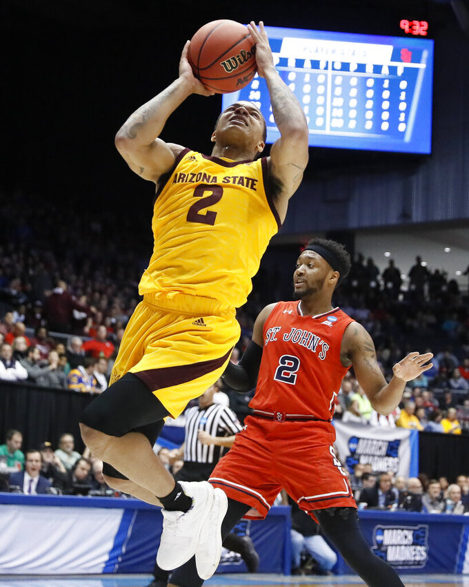 Arizona State's Rob Edwards (2) shoots during the first half against St. John's in a First Four game of the NCAA men's college basketball tournament Wednesday, March 20, 2019, in Dayton, Ohio. (AP Photo/John Minchillo)
