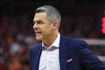 Virginia head coach Tony Bennett reacts to a call during an NCAA college basketball game against Duke Saturday, Feb. 29, 2020, in Charlottesville, Va. (AP Photo/Andrew Shurtleff)