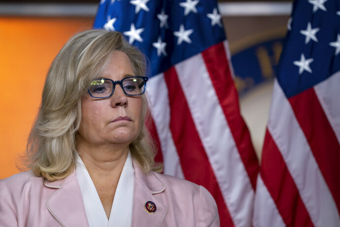 "In this Sept. 10, 2019, photo, House Republican Conference chair Rep. Liz Cheney, R-Wyo., pauses as she and the GOP leadership speak to reporters following a meeting at the Capitol in Washington. Kentucky Sen. Rand Paul and Cheney are battling over President Donald Trump's foreign policy. Both engaged in a rapid-fire exchange of tweets Wednesday and Thursday in which he suggested she is a warmonger and she called him a ""loser.""  (AP Photo/J. Scott Applewhite)"