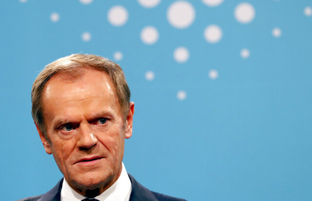 Outgoing President of the European Council and new President of the European People's Party Donald Tusk speaks during a press conference during the European Peoples Party (EPP) congress in Zagreb, Croatia, Thursday, Nov. 21, 2019. (AP Photo/Darko Vojinovic)