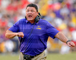 LSU coach Ed Orgeron celebrates a score against Georgia during the second half of an NCAA college football game in Baton Rouge, La., Saturday, Oct. 13, 2018. (AP Photo/Matthew Hinton)
