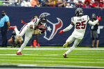 Houston Texans safety Justin Reid (20) intercepts a pass against the Jacksonville Jaguars during the first half of an NFL football game Sunday, Sept. 12, 2021, in Houston. (AP Photo/Sam Craft)