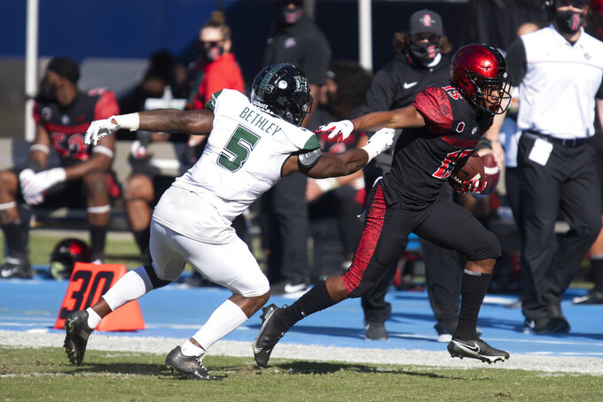San Diego State running back Jordan Byrd, right, sprints past Hawaii defensive back Khoury Bethley for a touchdown during the first half of an NCAA college football game Saturday, Nov. 14, 2020, in Carson, Calif. (AP Photo/Kyusung Gong)