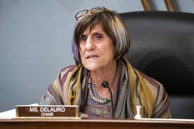 FILE - Rep. Rosa DeLauro, D-Conn., speaks during a hearing, Thursday, Jan. 4, 2020, on Capitol Hill in Washington. DeLauro will face Republican challenger Margaret Streicker for Connecticut's 3rd Congressional District in the 2020 election. (Al Drago/Pool Photo via AP, File)