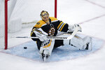 Boston Bruins goaltender Tuukka Rask reacts after giving up the game-winning goal to Florida Panthers center Mike Hoffman in a shoot out during an NHL hockey game in Boston, Tuesday, Nov. 12, 2019. The Panthers defeated the Bruins 5-4. (AP Photo/Charles Krupa)