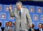FILE - In this July 26, 2015, file photo, National Baseball Hall of Famer Tom Seaver arrives for an induction ceremony at the Clark Sports Center in Cooperstown, N.Y. Seaver has been diagnosed with dementia and has retired from public life. The family of the 74-year-old made the announcement Thursday, March 7, 2019, through the Hall and said Seaver will continue to work in the vineyard at his home in California. (AP Photo/Mike Groll, File)
