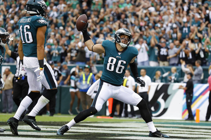 Philadelphia Eagles' Zach Ertz reacts after scoring a touchdown during the first half of an NFL football game against the New York Jets, Sunday, Oct. 6, 2019, in Philadelphia. (AP Photo/Michael Perez)