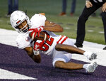 South Dakota wide receiver Dakarai Allen catches a pass in the end zone to score a touchdown during the first half of an NCAA college football game against Kansas State Saturday, Sept. 1, 2018, in Manhattan, Kan. (AP Photo/Charlie Riedel)