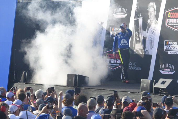 William Byron is introduced before a NASCAR Cup Series auto race Sunday, Sept. 5, 2021, in Darlington, S.C. (AP Photo/John Amis)