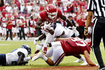 Arkansas running back Trelon Smith (22) runs for a touchdown against Rice during the second half of an NCAA college football game Saturday, Sept. 4, 2021, in Fayetteville, Ark. (AP Photo/Michael Woods)