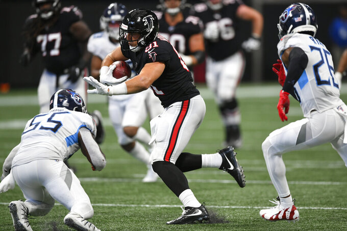 Atlanta Falcons tight end Austin Hooper (81) runs against the Tennessee Titans during the second half of an NFL football game, Sunday, Sept. 29, 2019, in Atlanta. The Tennessee Titans won 24-10. (AP Photo/John Amis)