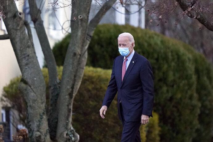 President-elect Joe Biden departs the St. Joseph on the Brandywine Catholic Church, Saturday, Jan. 16, 2021, in Wilmington, Del. (AP Photo/Matt Slocum)