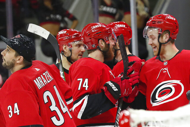 Carolina Hurricanes defenseman Dougie Hamilton, right, is congratulated by defenseman Jaccob Slavin (74) following Hamilton's overtime goal against the Philadelphia Flyers in an NHL hockey game in Raleigh, N.C., Tuesday, Jan. 7, 2020. (AP Photo/Gerry Broome)