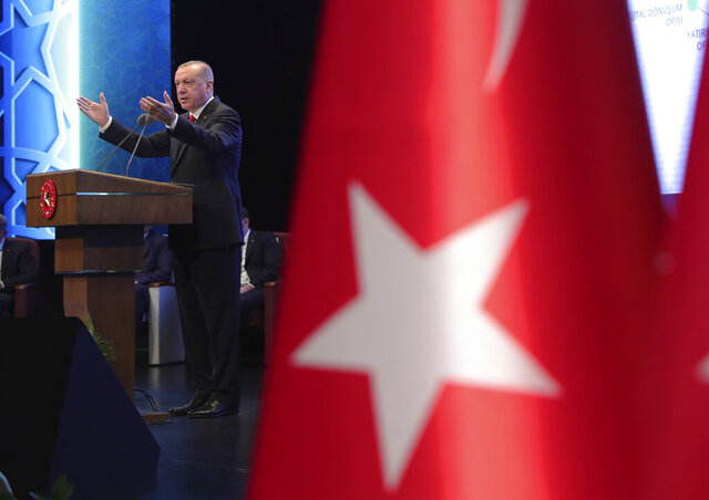 Turkey's President Recep Tayyip Erdogan delivers a speech during an event in Ankara, Turkey, Tuesday, July 21, 2020. (Turkish Presidency via AP, Pool)