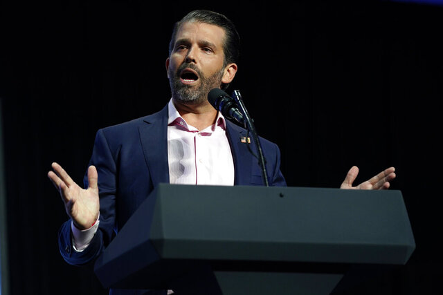 FILE - In this June 23, 2020 file photo, Donald Trump Jr. speaks at Dream City Church in Phoenix. Trump Jr. has agreed with calls to block a proposed copper and gold mine near the headwaters of a major U.S. salmon fishery in southwest Alaska. Trump Jr. responded Tuesday, Aug. 4, 2020, to a tweet by Nick Ayers, a former aide to Vice President Mike Pence, that expressed hope President Donald Trump would direct the U.S. Environmental Protection Agency to block the proposed Pebble Mine. (AP Photo/Evan Vucci, File)