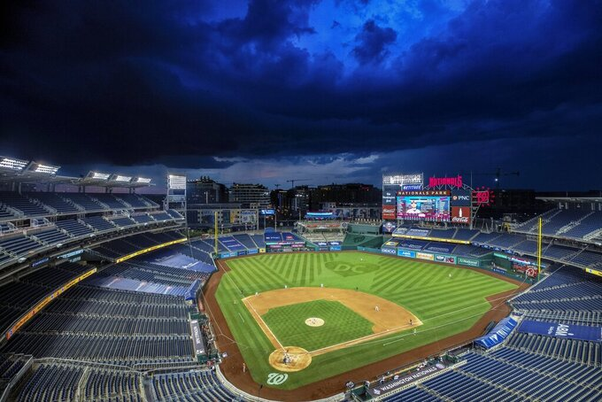 Clouds move in during the eighth inning of an exhibition baseball game between the Baltimore Orioles and the Washington Nationals at Nationals Park, Tuesday, July 21, 2020, in Washington. The game was halted due to weather in the eighth inning, with the Nationals leading 6-4. (AP Photo/Alex Brandon)