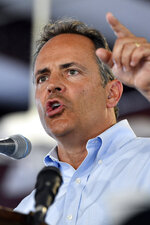 Kentucky republican candidate for Governor, Gov. Matt Bevin, addresses the audience gathered at the Fancy Farm Picnic in Fancy Farm, Ky., Saturday, Aug. 3, 2019. (AP Photo/Timothy D. Easley)