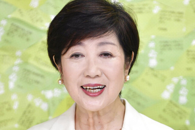 Tokyo Gov. Yuriko Koike speaks at a news conference after winning a second term to head the Japanese capital, in Tokyo Sunday, July 5, 2020. (Kyodo News via AP)