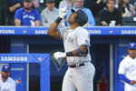 New York Yankees Chris Gittens celebrates his home run during the third inning of a baseball game against the Toronto Blue Jays, Tuesday, June 15, 2021, in Buffalo, N.Y. (AP Photo/Jeffrey T. Barnes)