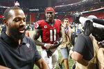 Atlanta Falcons wide receiver Julio Jones leaves the field after a win over the Philadelphia Eagles an NFL football game, Sunday, Sept. 15, 2019, in Atlanta. The Atlanta Falcons won 24-20. (AP Photo/John Bazemore)