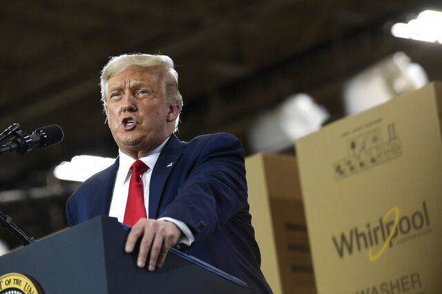 President Donald Trump speaks during an event at the Whirlpool Corporation facility in Clyde, Ohio, Thursday, Aug. 6, 2020. Trump is in Ohio to promote the economic prosperity that much of the nation enjoyed before the coronavirus pandemic and try to make the case that he is best suited to rebuild a crippled economy. (AP Photo/Susan Walsh)