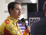 Joey Logano answers questions during a NASCAR Daytona 500 auto racing media day interview at Daytona International Speedway, Wednesday, Feb. 13, 2019, in Daytona Beach, Fla. (AP Photo/John Raoux)