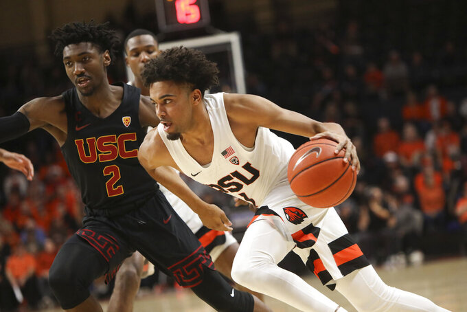 Thompson scores 34, Oregon St tops USC 79-74 in OT