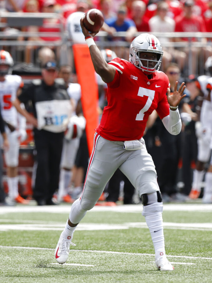 Ohio State quarterback Dwayne Haskins throws a pass against Oregon State during the first half of an NCAA college football game Saturday, Sept. 1, 2018, in Columbus, Ohio. (AP Photo/Jay LaPrete)