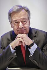 U.N. Secretary-General Antonio Guterres poses for a portrait during an interview with The Associated Press at the COP25 climate talks summit in Madrid, Monday Dec. 2, 2019. (AP Photo/Bernat Armangue)
