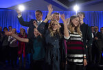 FILE - In this Oct. 15, 2019, file photo, Conservative leader Andrew Scheer, his wife Jill and their children Henry, from left, Maddie, Grace and Thomas stand onstage following a campaign speech in La Prairie, Quebec.  Polls show that Scheer has a chance to defeat Justin Trudeau's Liberal party in national elections on Monday, Oct. 21. (Adrian Wyld/The Canadian Press via AP)
