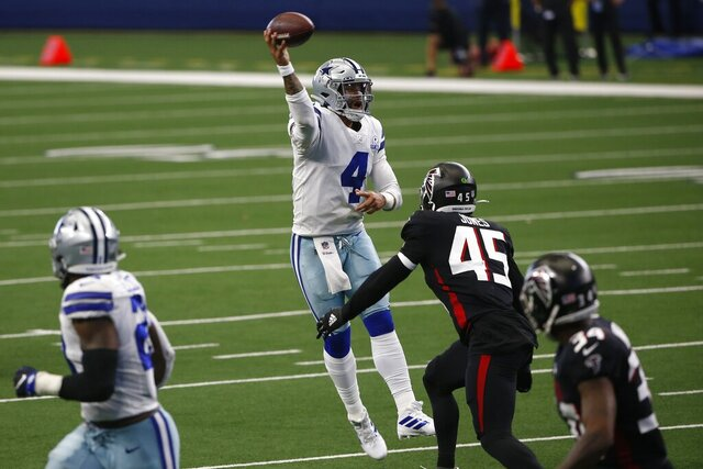 Dallas Cowboys quarterback Dak Prescott (4) throws a pass under pressure fro Atlanta Falcons linebacker Deion Jones (45) in the second half of an NFL football game in Arlington, Texas, Sunday, Sept. 20, 2020. (AP Photo/Ron Jenkins)
