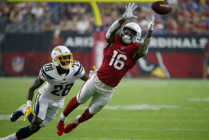 Arizona Cardinals wide receiver Trent Sherfield (16) can't take the catch as Los Angeles Chargers defensive back Brandon Facyson (28) defends during the first half of an NFL preseason football game, Thursday, Aug. 8, 2019, in Glendale, Ariz. (AP Photo/Rick Scuteri)