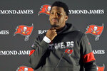 Tampa Bay Buccaneers quarterback Jameis Winston listens during an NFL football press conference at Blackheath Rugby Football Club ground in London, Friday, Oct. 11, 2019. The Buccaneers face the Carolina Panthers in London on Sunday. (AP Photo/Kirsty Wigglesworth)