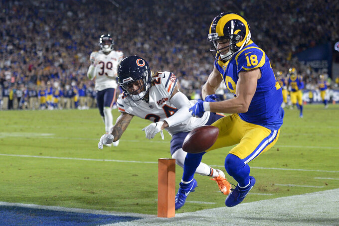 Los Angeles Rams wide receiver Cooper Kupp is pushed out of bounds at the goal line by Chicago Bears cornerback Buster Skrine during the first half of an NFL football game Sunday, Nov. 17, 2019, in Los Angeles. (AP Photo/Kyusung Gong)