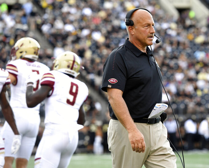 FILE - In this Thursday, Sept. 13, 2018, file photo, Boston College head coach Steve Addazio watches during the first half of an NCAA college football game against Wake Forest in Winston-Salem, N.C. The 23rd-ranked Eagles hit the road with a perfect record and their first ranking in a decade as they try to prevent Purdue from finding answers after a rugged start. (AP Photo/Woody Marshall, File)