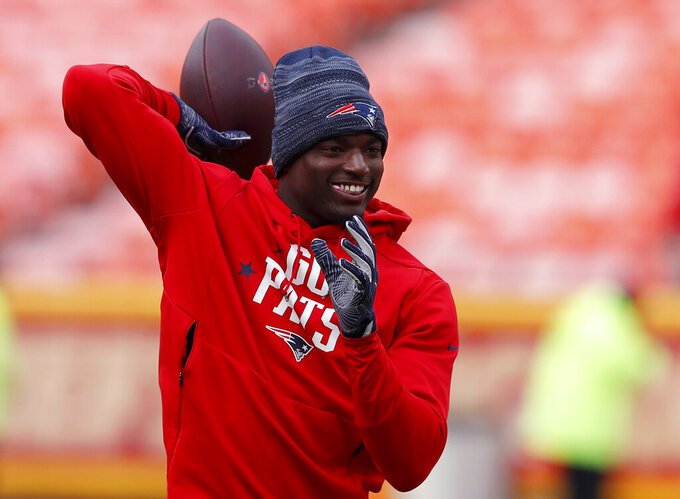 New England Patriots defensive back Keion Crossen warms up before the AFC Championship NFL football game against the Kansas City Chiefs, Sunday, Jan. 20, 2019, in Kansas City, Mo. (AP Photo/Charlie Neibergall)