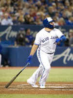 Toronto Blue Jays' Rowdy Tellez watches his two-run home run against the Boston Red Sox during the fifth inning of a baseball game Tuesday, Sept. 10, 2019, in Toronto. (Fred Thornhill/The Canadian Press via AP)