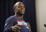 New England Patriots football special teamer Matthew Slater speaks to the media, Wednesday, July 24, 2019, in advance of Thursday's opening of the Patriots NFL training camp. (AP Photo/Elise Amendola)