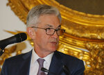 U.S. Federal Reserve Chairman Jerome Powell speaks during a dinner hosted by the Bank of France in Paris, Tuesday, July 16, 2019. Finance officials from the Group of Seven rich democracies will weigh risks from new digital currencies and debate how to tax U.S. tech companies like Google and Amazon when they meet in the Paris suburb of Chantilly tomorrow. (AP Photo/Michel Euler)