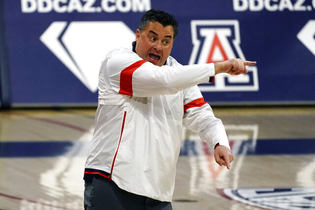 Arizona coach Sean Miller reacts to a play during the second half of the team's NCAA college basketball game against Colorado, Monday, Dec. 28, 2020, in Tucson, Ariz. Arizona won 88-74. (AP Photo/Rick Scuteri)