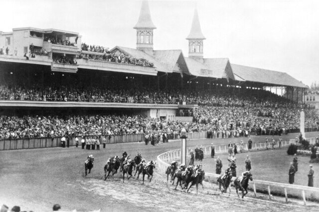 FILE - In this June 9, 1945, file photo, Hoop Jr. leads by a length during the 71st running of the Kentucky Derby horse race at Churchill Downs in Louisville, Ky. This year is the first time the Derby won't be held on the first Saturday in May since 1945, when it was run June 9. Churchill Downs postponed the opening leg of the Triple Crown from May 2 to Sept. 5, due to concern over the coronavirus pandemic that has wreaked havoc with the world's sports calendar. (AP Photo/File)